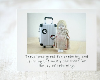 "Funny Travel Card ""Returning"" Adventures Claudia Porcelain Doll Stationary (1)"