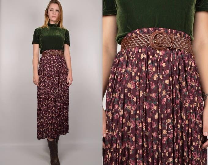 Vintage High Waist Floral Skirt