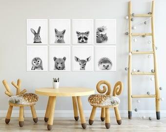 Woodland Nursery Decor, Baby Animals Print Set of 8, Bunny Fox Raccoon Deer, Black White Nursery Kids Baby Room Decor, Modern Printable Art