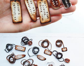 Clay Word Pendants / Talismans - Hand Engraved Messages to Inspire you