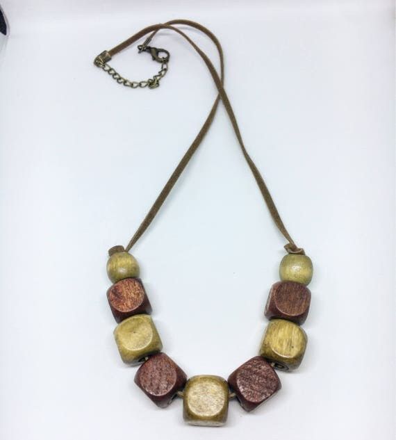 Squared Wooden Beaded Necklace on Faux Suede Cord With Adjustable Clasp