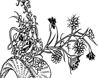 Plants Coloring Page Figure 2.  Printable Coloring Page, Instant Download, Adult Coloring Page.
