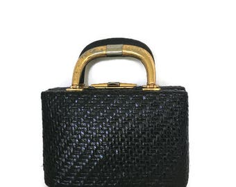 Rodo Purse Black Woven Box Handbag Italian Designer Made in Italy Red Leather lined 1960's 1970's
