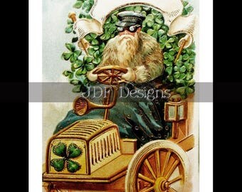 Instant Digital Download, Vintage Antique Graphic, Shamrock Auto, Car, Text Banner, Irish, Clovers, Scrapbook Image, Label, St Patricks Day