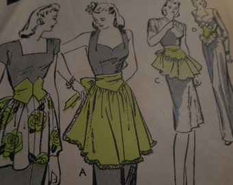 Vintage 1940's Butterick 3250 Dress-Up Aprons Sewing Pattern, One Size
