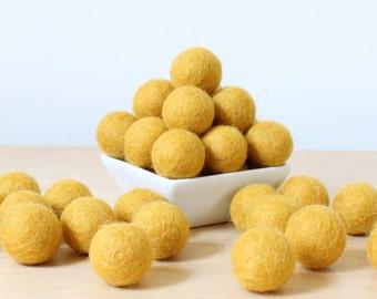 Felt Balls: MUSTARD, Felted Balls, DIY Garland Kit, Wool Felt Balls, Felt Pom Pom, Handmade Felt Balls, Yellow Felt Balls, Yellow Pom Poms