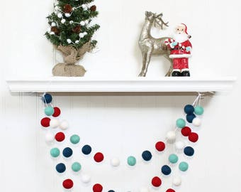 Polar Ice Felt Ball Garland, Pom Pom Garland, Nursery Decor, Bunting Banner, Party Decor, Holiday