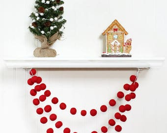 Felt Ball Garland Red for Christmas, Red Pom Pom Garland, Christmas Party Decoration, Tree Decoration, Christmas Bunting, Christmas Garland