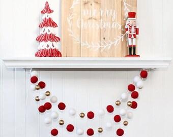 Felt Ball Garland with Gold Beads, Pom Pom Garland, Christmas Party Decor,  Red White & Gold, Winter Decor, Christmas Garland