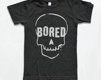 Bored to Death Skull T Shirt - American Apparel Tri-Blend Vintage Fashion - Graphic Tees for Men & Women - Retro, Skull, Skeleton,