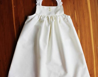 Baby Dress, lace coming home outfit, delicate, minimalist, ivory or white, newborn gown, Shelby Jane, maxi length, long baby dress