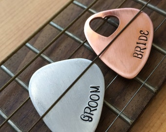 Custom Guitar Pick Set for Groom and Bride - Instrument Partner Gifts - Engagement Party Bridal Groom Tokens - Custom Guitar Picks
