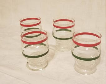 4 Piece Vintage Christmas Juice Glasses
