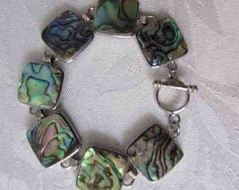 Bracelet Abalone Shell link/ set in silver metal