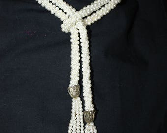 "Vintage Lariat Faux Pearl Necklace/46"" Long Lariat Necklace with Tassels/Crocheted Faux Pearl Necklace/Flapper Style Belt"