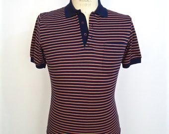1980s Navy Stripe Polo Shirt / vintage Trent blue red khaki tan horizontal stripe pullover eighties short sleeve / men's small-xs