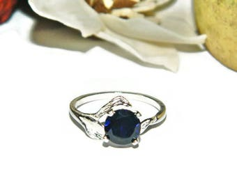 Sapphire Ring, Simple Leaf Band, Ring With Blue Sapphire Stone