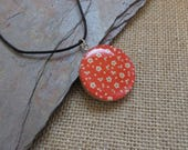 """05 - NBX18: Origami red paper pendant, wooden pendant, 24"""" cotton cord necklace, red paper with white flowers, fun jewelry, light weight"""