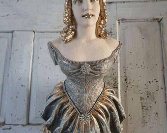 Ship figurehead lady statue wall hanging nautical figure head French Nordic bow maiden woman starfish crown beach cottage anita spero design