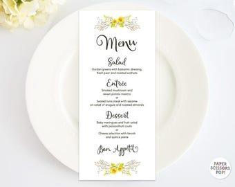 Wedding Menu Template, Yellow Flowers Menu Card, Rustic Menu, Dinner Menu Template. Woodland Menu, Printable Menu Card, Floral Wedding Decor