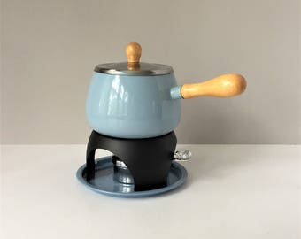 Sky Blue Fondue Pot, Vintage Fondue Set NOS, Pot Tray Stand Burner Lid, Retro New Old Stock, 1970s Fondue Party, Kitchen Concepts Himark