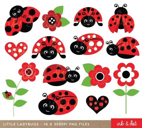 Ladybugs Clipart Cute Ladybirds Red Garden Spring
