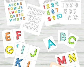 Bright Learning Pack - Alphabet and Numbers Coloring Pages and Posters, Flashcards, File Folder Games