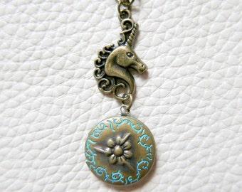 Unicorn Necklace locket heart