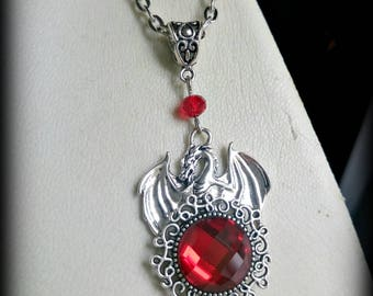 Red glass crystal dragon cameo necklace.