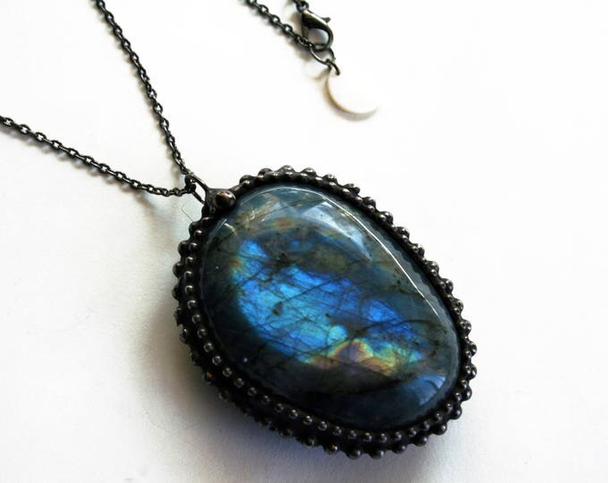 Large Tumbled Labradorite Stone Necklace