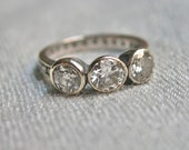 1940s Old European Cut Diamond and 18kt Gold Trilogy Ring with Eternity Band - 2.3 Carats of Diamonds