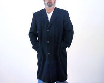 60s Roos Atkins Coat, Mens Black Cashmere Coat, Mongolian Cashmere Coat, Upscale Vintage Cashmere Coat, Luxurious Cashmere Coat, XL, 44L