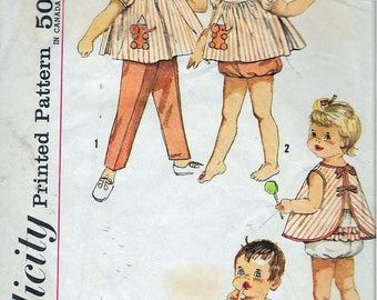 Vintage 1962 Simplicity 4018 Toddlers Top, Pants, Apron & Panties Transfer Included Sewing Pattern Size 1/2 Breast 19""