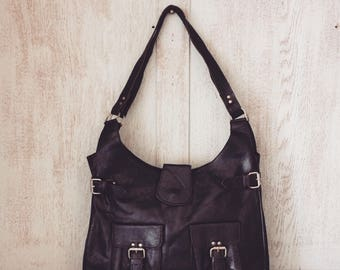 Leather handbag // Boho Purse // Gifts for her // Soft genuine leather // Black // Natural // Unique // Angelica