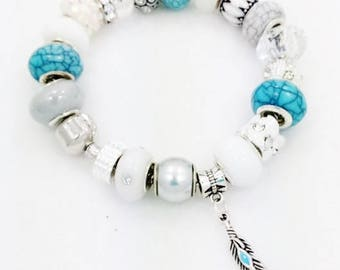 Feather European style Charm Bracelet
