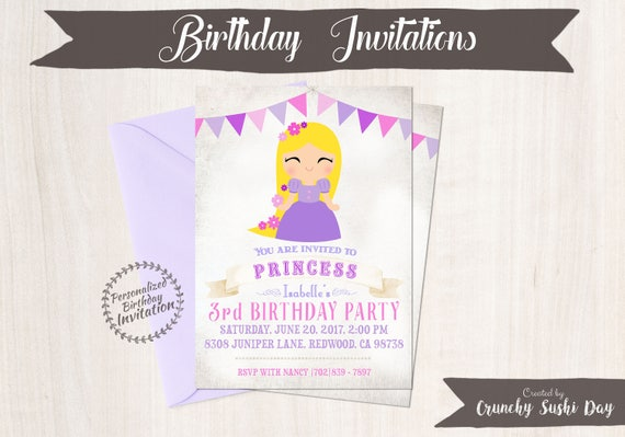 Princess Rapunzel Customizable Birthday Invitations, Princess, Girl Birthday Invitations, Princess Birthday, Printable, Rapunzel Party 054