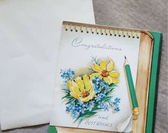 Vintage Greeting Card Congratulations Best Wishes Unused USA Envelope 1950-1960