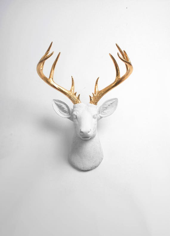 Deer Head Wall Mount Decor The XL Alfred White and Gold