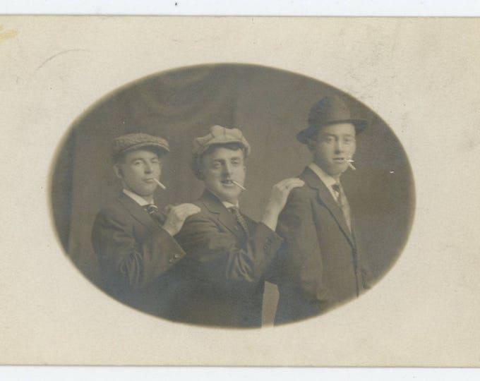 Three Buddies, c1910s RPPC Vintage Portrait Photo (76587)