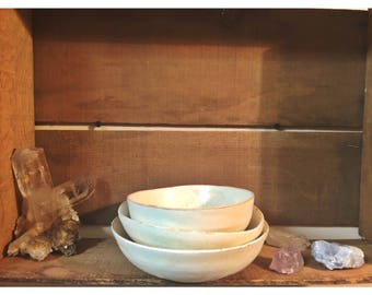 Small Rustic White Bowls