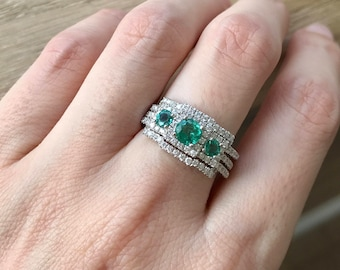 Emerald Engagement Ring Set- Art Deco Wedding Set- Three Piece Bridal Set- Three Stone Emerald Ring- Unique Bridal Set Rings- Vintage Bridal