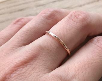 Rose Gold Wedding Band- 14k Rose Gold Band- Womens Wedding Band- Stackable Wedding Band- Simple Wedding Ring