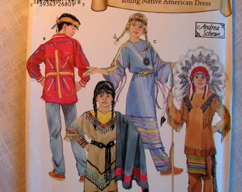 Historic Native American Clothing Child Sizes 3 4 5 6 7 8 Andrea Schewe Simplicity 5448 uncut factory folded costume sewing pattern