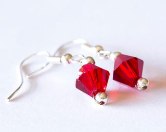 Red Diamond Beaded Earrings