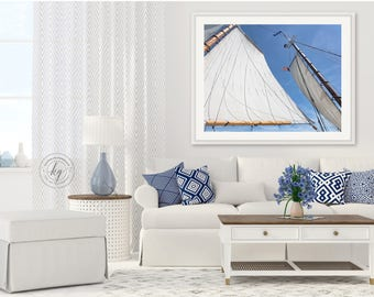 Sailing Photography, Schooner Sails Masts Rigging Photo, Nautical Sailboat Decor, Upscale Beach Art, Gloucester Harbor, Cape Ann Wall Art