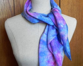 """30"""" square silk scarf hand dyed in shades of blue and magenta pink is ready to ship, silk scarf # 546"""