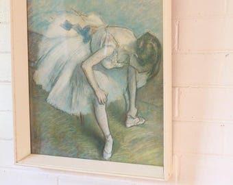 Original 1950s Framed Degas Ballerina Tying Slippers Print