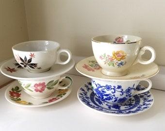 Mismatched vintage tea cups and saucers 4 sets
