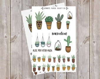 2-Pack Succulent Cactus Collection Stickers for Journal and Planner
