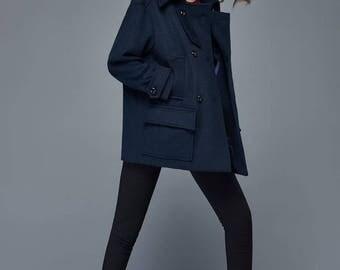 Navy blue coat   Etsy